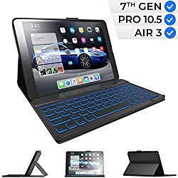 iPad Keyboard Case for iPad 10.2 2019, iPad Air 10.5 2019, iPad Pro 10.5 2017 – iPad 7th Generation Case with Keyboard – iPad Air 3rd Generation Case with Keyboard – Backlit – Slim Folio Cover (Black)