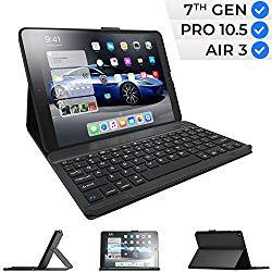 iPad Keyboard Case for iPad 10.2 2019, iPad Air 10.5 2019, iPad Pro 10.5 2017 – iPad 7th Generation Case with Keyboard – iPad Air 3rd Generation Case with Keyboard – Slim Folio Cover (Black)