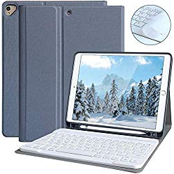 iPad Keyboard Case for iPad 10.2 2019(7th Gen), iPad Air 10.5 2019, iPad Pro 10.5 2017 – iPad 7th Generation Case with Keyboard, Magnetic Detachable Bluetooth Keyboard with Pencil Holder (Gray)