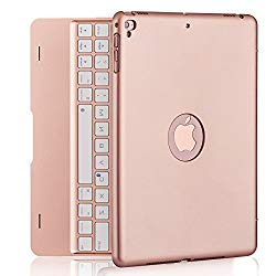 iPad Keyboard Case for iPad Pro 9.7 Inch, New 2018 iPad, 2017 iPad, iPad Air 1 and 2 Bluetooth Keyboard with 130° Smart Folio Hard Back Cover, Ultra Slim, Auto Wake and Sleep (Rose Gold)