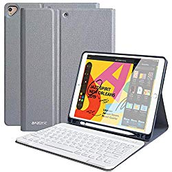 iPad Keyboard Case for New iPad 10.2 2019(7th Gen)- iPad Air 3 10.5″ 2019- iPad Pro 10.5″ 2017- Detachable Wireless Bluetooth Keyboard- Magnetic Smart Case with Pencil Holder (Grey)