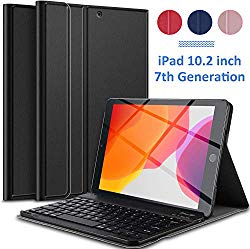 IVSO Keyboard Case for Ipad 10.2 2019,Case with Keyboard Wireless Front Prop Stand Cover for The New Ipad 10.2 inch 2019 Tablet(Black)