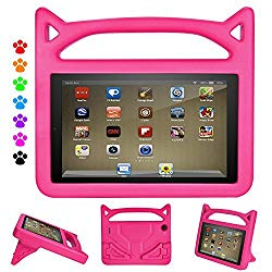 Kindle Fire 7 2019 Case, Fire 7 Tablet Case for Kids – Auorld Light Weight Shock Proof Handle Protective Cover with Built-in Stand for Amazon Fire 7 Tablet (Compatible with 2019&2015&2017 Release) (Pink)