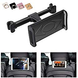 KURAMI Car Headrest Mount, 360°Rotated Car Headrest Bracket Tablet Headrest Holder Compatible with 4″- 11″ iPhone/Samsung/iPad/Smartphones/Tablets,with 1 Free Phone Finger Ring Stand(Black)