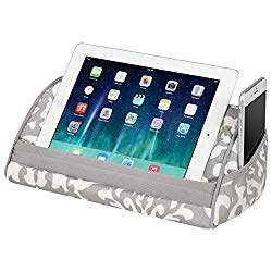 LapGear Designer Tablet Pillow Stand with Phone Pocket – Gray Damask – Fits Most Tablet Devices – Style No. 35514