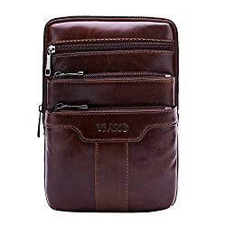 Leathario Men's Leather Shoulder Bag Retro Messenger Bag Crossbody Bag 9.5 inch Ipad Bag Satchel Bag Brown (brown-603)