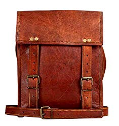 Leather Satchel iPad Tablet Bag – Leather Saddle Bag Purse – Small iPad Shoulder Bag for Men and Women (11 inches, Brown)