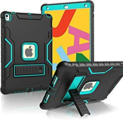 LTROP iPad 10.2 2019 Case, iPad 7th Generation Case with Built-in Screen Protector, 10.2″ iPad Case Heavy Duty Rugged Full-Body Drop Protection Stand Case Cover for iPad 10.2-Inch 2019 Gen 7th, Black