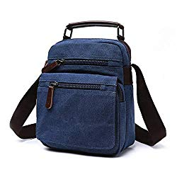 Man Purse Crossbody Bags for Work Business, Men's Vintage Canvas Messenger Shoulder Bag Vertical Handbag Crossbody Casual Business Work Universal Tablet Briefcase Classic Anti-Theft Simple Messenger W