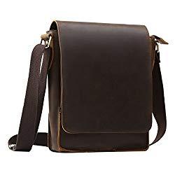Men's Leather Cross Body Bag Shoulder Messenger Bag Vintage Satchel Rucksack IPAD Bag