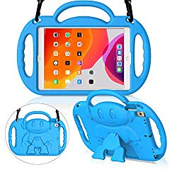 MENZO Kids Case for New iPad 10.2″ 7th Generation 2019, Light Weight Shockproof Shoulder Strap Handle Stand Case for New iPad 10.2-Inch 2019 Released (Latest Model) – Blue