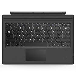 MoKo Microsoft Surface Pro 7/ Pro 6 / Pro 5 (Pro 2017) / Pro 4 / Pro 3 Type Cover, Lightweight Slim Wireless Bluetooth Keyboard with Two Button Trackpad and Built-in Rechargeable Battery, Gray