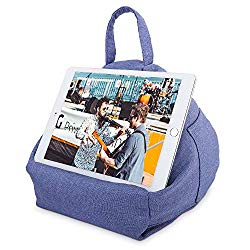 MoKo Tablet Pillow Stand, Tablet Lap Pillow on Bed Sofa Soft Cushion Holder for Phones Tablets Up to 11″, Fit with iPad 10.2″ 2019, iPad Air 3 2, iPad Mini 5, Pro 11/10.5/9.7, Mini 4 – Denim Blue