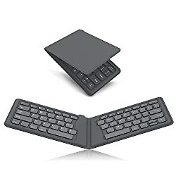MoKo Universal Foldable Keyboard, Ultra-Thin Portable Wireless Bluetooth Keyboard for iPad, iPhone, Compatible with iOS, Android and Windows Tablet Devices, Gray