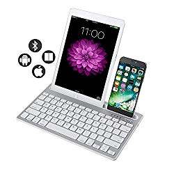 Multi-Device Bluetooth Keyboard,Rechargeable Wireless Bluetooth Keyboard Switch to 2 Devices for Cellphone, Tablet, PC,MacBook iOS Android Windows-(White)