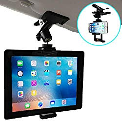 Nanmara Car Mount for Tablet Clip Holder Firmly Secured with Powerful Clip Holder That can be Used in Many Places Installation Location for Sun Visor, Rear Seats, etc. (Tablet & Smartphone)
