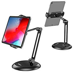 Nulaxy Adjustable Tablet Stand, Heavy Duty Desktop Tablet Holder Mount, macOS Catalina Sidecar, 2-Stage Metal Arm Compatible with 4-11″ Phones, Tablets, iPad, Nintendo Switch, Kindle – Updated Version