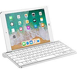 Nulaxy KM13 Wireless Bluetooth Keyboard with Sliding Stand Compatible with Apple iPad iPhone Samsung Android Windows Tablets Phones Keyboard – Silver
