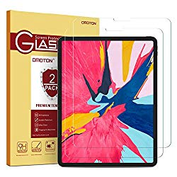 OMOTON [2 Pack] Screen Protector Compatible with iPad Pro 11 [Work with Face ID & Apple Pencil] – Tempered Glass/High Definition / 9 Hardness