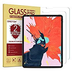 OMOTON [2 Pack] Screen Protector for iPad Pro 12.9 2018 (3rd Gen) [Work with Face ID & Apple Pencil] – Tempered Glass/High Definition / 9 Hardness