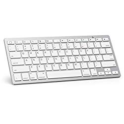 OMOTON Ultra-Slim Bluetooth Keyboard Compatible with iPad 10.2-inch/ 9.7-inch, iPad Air 10.5, iPad Pro 11/12.9, iPad Mini 5/4, iPhone and Other Bluetooth Enabled Devices, White