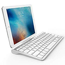 OMOTON Ultra-Slim Bluetooth Keyboard with Sliding Stand,Compatible with iPad 10.2/9.7, iPad Air 10.5, iPad Pro 11/12.9, iPad Mini 5/4, iPhone and Others,White