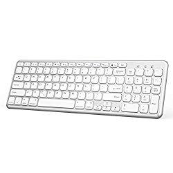 """OMOTON Wireless Bluetooth Keyboard with Numeric Keypad for iPad Pro 11""""/ 12.9"""", iPad 9.7 inch, iPad Air 2/Air, iPad 4/3/2, iPad Mini, All iPhones, Silver"""