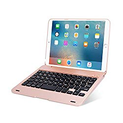 ONHI Wireless Keyboard for iPad Mini Keyboard Case, Folio Flip Smart Cover for iPad Mini 3/ iPad Mini 2/ iPad Mini 1 with Folding Stand,Silent Typing(Rose Gold)