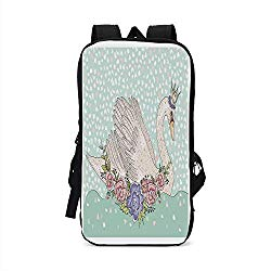 Queen Stylish Compatible with iPad Backpack,Cute Cartoon Swan on Water Crown Flowers Dreamy Fairytale Kids Playroom for School Office,One Size