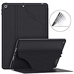 Soke Luxury Series Case for iPad 7th Generation 10.2″ 2019- [Built-in Pencil Holder + 6 Magnetic Stand Angles + 360 Full Protection + Premium PU Leather] – Sleep/Wake Cover for iPad 10.2 Inch, Black