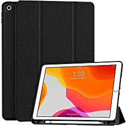 Soke New iPad 7th Generation 10.2″ Case 2019 with Pencil Holder, Premium Shockproof Case with Soft TPU Back Cover and Auto Sleep/Wake Function for Apple iPad 7th Gen 10.2 Inch, Black
