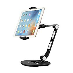 Suptek Aluminum Tablet Desk Stand for iPad, iPhone, Samsung, Asus and More 4.7-11 inch Devices, 360° Flexible Cell Phone Holder Mount, Good for Bed, Kitchen, Office (YF208D)