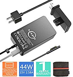 Surface Pro Charger,44W 15V 2.58A Power Supply Compatible Microsoft Surface Pro X Pro7 Pro 6 Pro 5 Pro 4 Pro 3 Surface Laptop/2/3 Surface Go&Surface Book with 6.2 Ft Cable Wall Plug and Travel Case