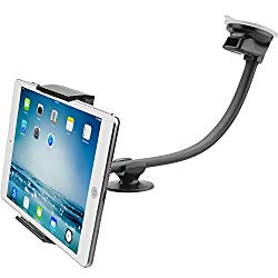 Tablet Car Mount Holder [13″ Gooseneck Extension] Long Arm Suction Cup Mount for 7-11 inch Tablet, Cell Phone Holder for SUV Truck Vehicle Lift Uber – APPS2Car Windshield Window Mount for iPad 2-in-1
