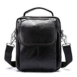 Tablet Carrying Bag, Men's Cowhide Leather Tablet Zipper Messenger Small Shoulder Crossbody Bag Vertical Handbag Casual Business Work Briefcase Classic Anti-Theft Simple Messenger Work Handbag