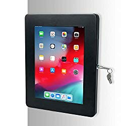 Tablet Mount, CTA Digital Premium Locking On-Wall Flush Mount for iPad 10.2-Inch (7th Gen.), iPad Air 3 (2019), iPad Gen. 6 (2018), Galaxy Tab S3 9.7″, and More, Black