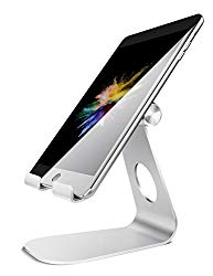 """Tablet Stand Adjustable, Lamicall Tablet Stand : Desktop Stand Holder Dock Compatible with Tablet Such as iPad 2018 Pro 9.7, 10.5, Air Mini 4 3 2, Kindle, Nexus, Tab, E-Reader (4-13"""") – Silver"""