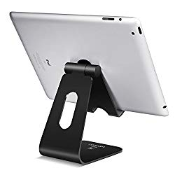 Tablet Stand Multi-Angle, Lamicall Tablet Holder: Desktop Adjustable Dock Cradle Compatible with Tablets Such As iPad Air Mini Pro, Phone XS Max XR X 6 7 8 Plus More Tablets (4-13 Inch) – Black