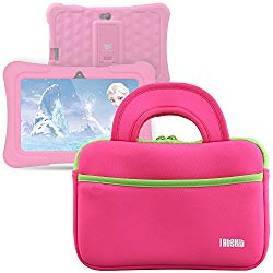 TabSuit 7″ Tablet Bag Compatible for Dragon Touch Y88X Plus/Y88X/M7 Kids Tablet, Dragon Touch S7/S8 Tablet Ultra-Portable Neoprene Zipper Carrying Sleeve Case Bag with Accessory Pocket- Pink
