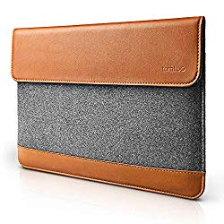 tomtoc Slim Laptop Sleeve Compatible with 16-inch New MacBook Pro 2019, 15 Inch Old MacBook Pro Retina 2012-2015 A1398, Felt & PU Leather Envelope Case Bag with Accessory Pocket