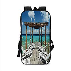 Travel Decor Stylish Compatible with iPad Backpack,Beach Sunbeds Ocean Sea Scenery with Wooden Seem Pier Image for School Office,One Size
