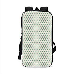 Turquoise Stylish Compatible with iPad Backpack,Retro Cross Pattern Abstract Geometric Plus Figure Oval Frame Design Vintage Decorative for School Office,One Size
