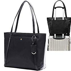 Womens Tote Bags By Miss Fong, Laptop Bag Work Bags For Women,Laptop Purse, Laptop Tote Bag Fits 15.6 Inch Laptop and Tablet, Computer Bag With In Bag Organizer and RFID Blocking Wallet Pocket (Black)
