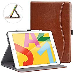 """ZtotopCase for New iPad 7th Generation 10.2 Inch 2019,Premium PU Leather Slim Folding Stand Cover with Auto Wake/Sleep,Multiple Viewing Angles for Newest iPad 7th Gen 10.2"""" 2019,Brown"""