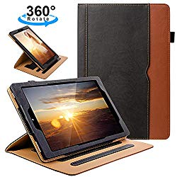 ZTOZ All New Kindle Fire HD 10 Tablet (9th/7th Generation,2019/2017 Released) Cover Case With Card Slots, 360 Degree Rotating Multi-Angle Viewing Stand Auto Sleep/Wake For Fire HD10 – Black/Brown