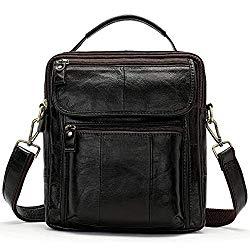 Zxhuapy Tablet Carrying Bag, Men's Small Vertical Business Briefcase Protective Tablet Crossbody Handbag Genuine Leather Casual Shoulder Messenger Bag Classic Anti-Theft Simple Messenger Work Handbag