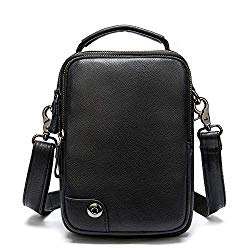 Zxhuapy Tablet Carrying Bag, Men's Soft Vintage Leather Vertical Shoulder Messenger Bag Mini Tablet Crossbody Handbag Casual Business Work Briefcase Classic Anti-Theft Simple Messenger Work Handbag