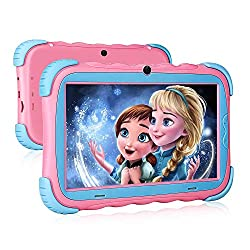 Kids Tablet – 7 inch IPS Eye Protection Display, 16GB ROM,Dual Camera, Parental Control, Kids-Proof Bluetooth WiFi Android Tablet,Pink